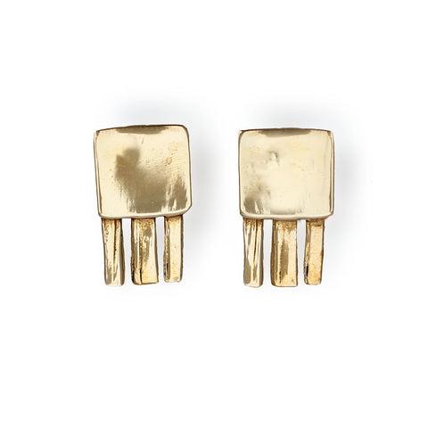 gold jellyfish post earrings by delia langan jewelry