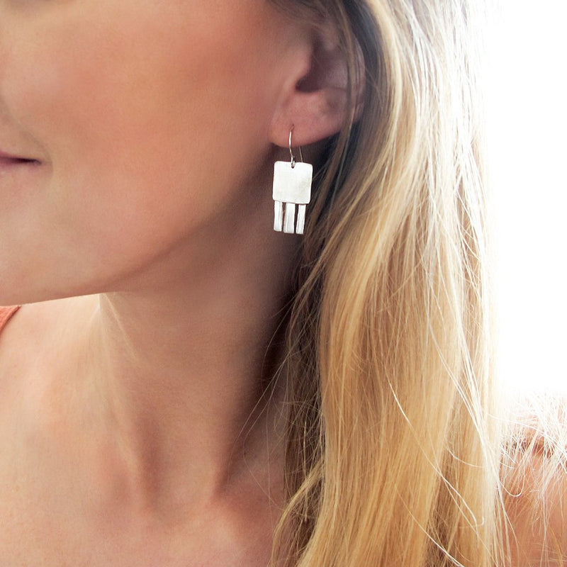 silver jellyfish earrings by delia langan jewelry