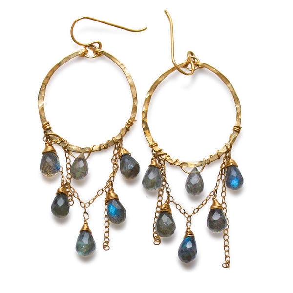 Labradorite and Cascade Hoops
