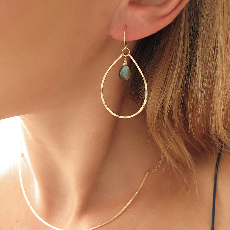 labradorite and hammered gold teardrop hoop earrings by delia langan jewelry