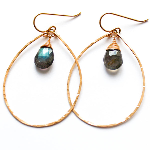 labradorite earrings thin oval gold hoops handmade by Delia Langan Jewelry