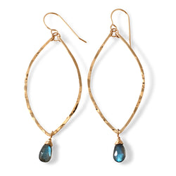 labradorite and gold leaf earrings handmade by delia langan jewelry