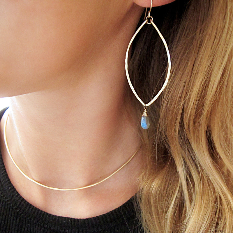 blond woman neck closeup wearing 14k gold filled labradorite leaf gemstone earrings and halo collar