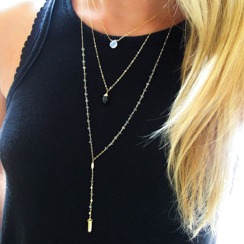 layered pendant necklaces and beaded labradorite and gold y shaped necklace
