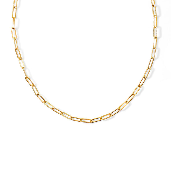 Gold link necklace on white background