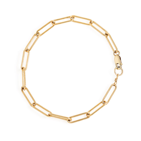 large paperclip chain bracelet in 14k gold