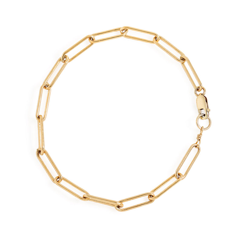 14k gold filled large link chain bracelet on white surface