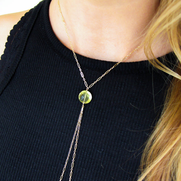 Y Gemstone Necklace - Lemon Quartz