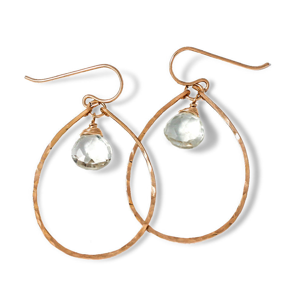 green amethyst and thin gold oval hoop earrings