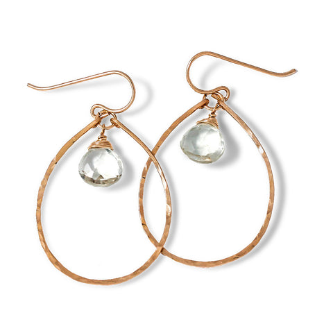 Green Amethyst Teardrop Hoops