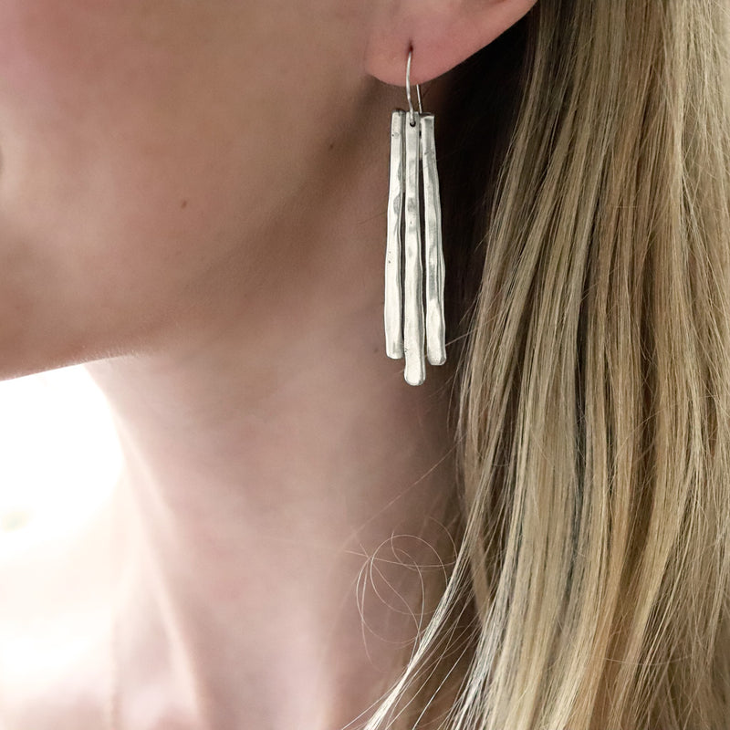 long silver fringe drop earrings by delia langan jewelry