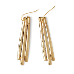 long fringe drop earrings on white background by delia langan jewelry