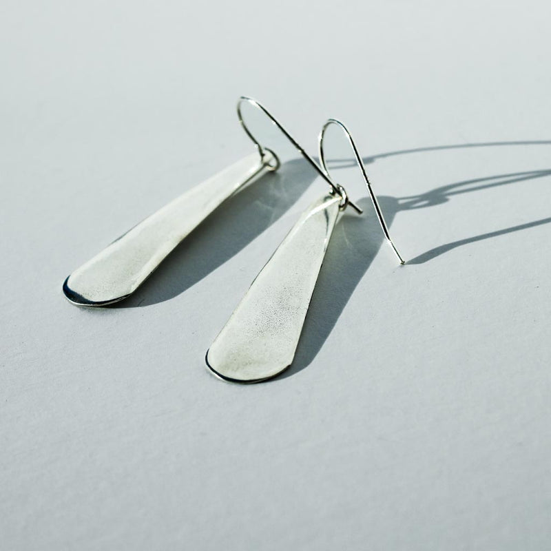 long simple sterling silver teardrop earrings