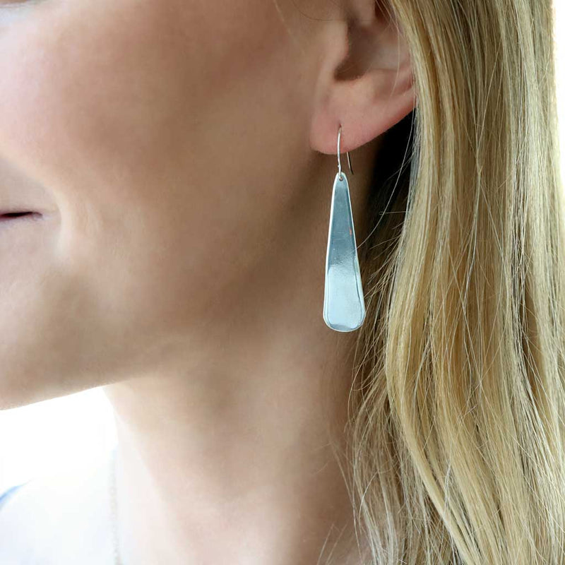 long flat teardrop earrings in sterling silver by delia langan