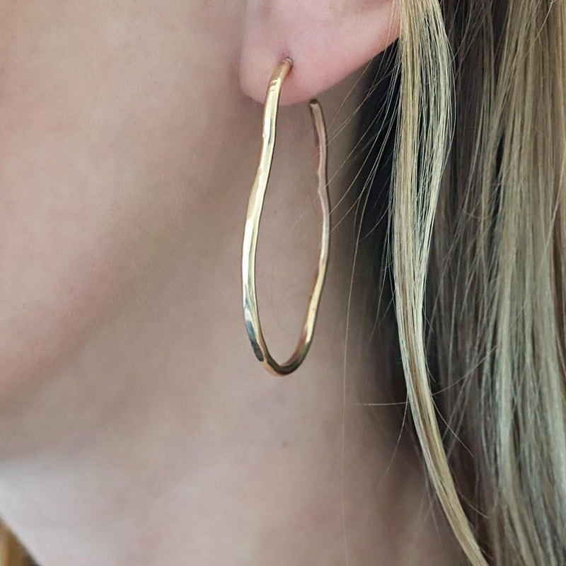 irregular gold hoop earrings