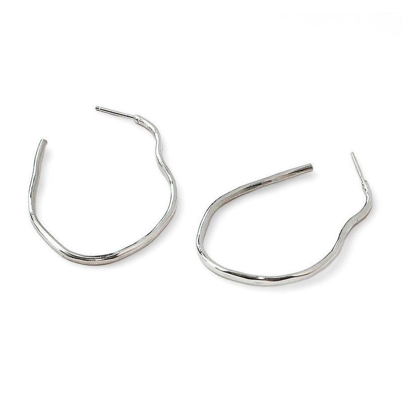 irregular sterling silver hoop earrings