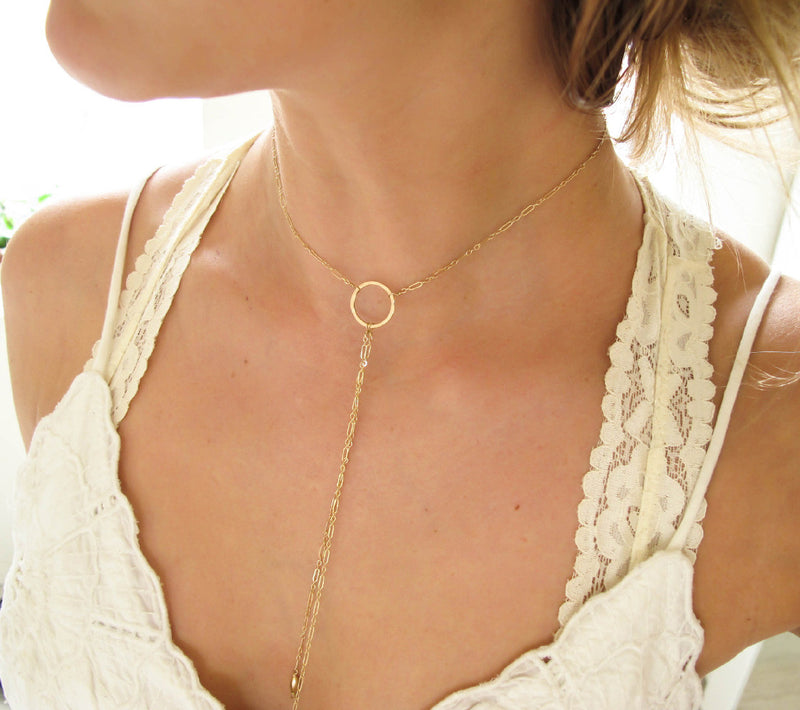 medium gold bolo necklace y shaped necklace by delia langan jewelry