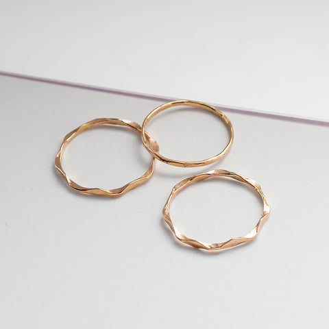 wavy and flat thin gold stacking rings