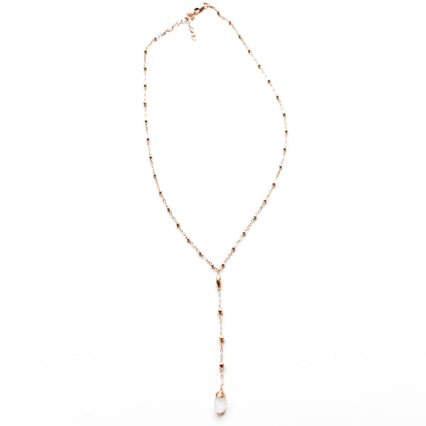14k gold filled moonstone short y gemstone necklace on a white surface