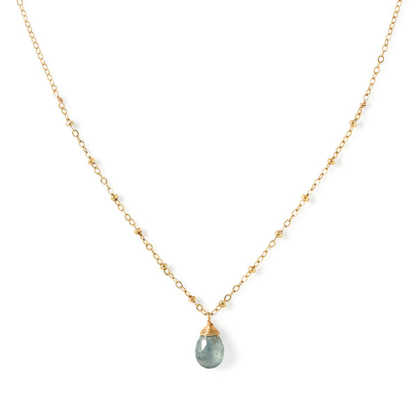 delicate moss aquamarine and gold chain pendant