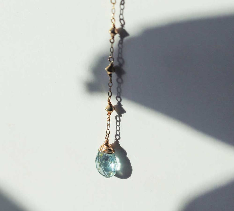 moss aquamarine and gold y shaped pendant necklace