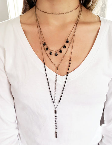 oxidized black layered neckalces by delia langan jewelry