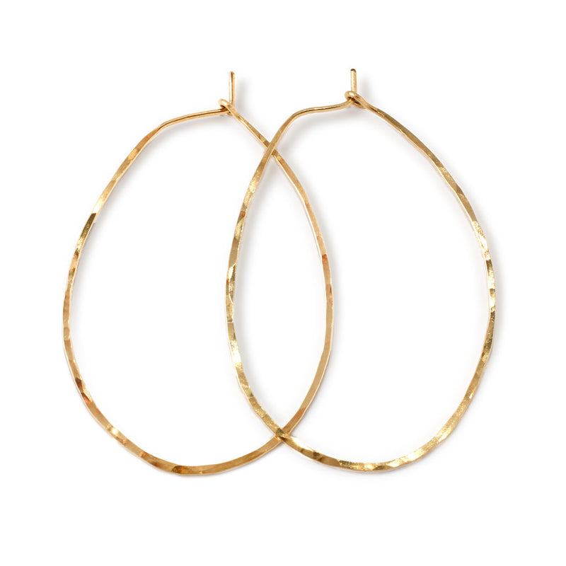 oval shaped gold endless hoop earrings