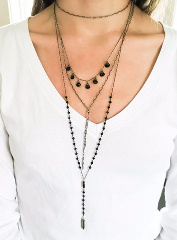 oxidized silver delicate black layering necklaces