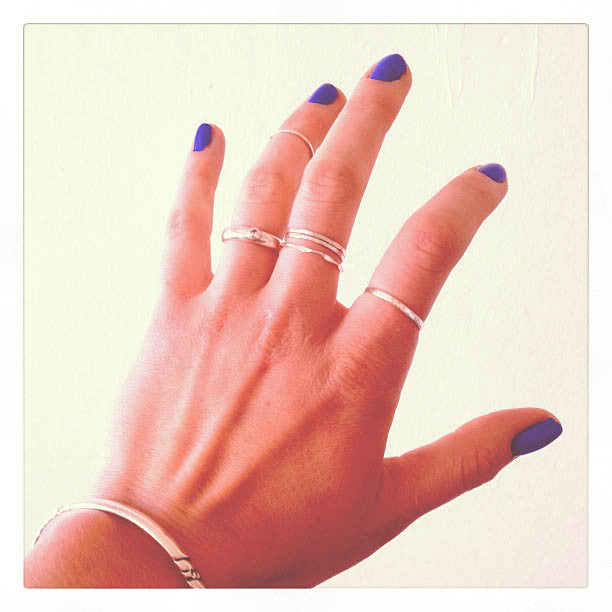 sterling silver stacking rings with blue nails