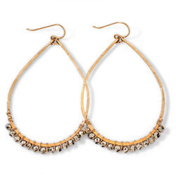 14k gold filled pyrite teardrop gemstone arc hoop earrings on white surface