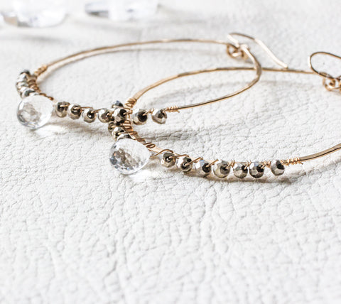 pyrite and crystal quartz hammered gold hoop earrings