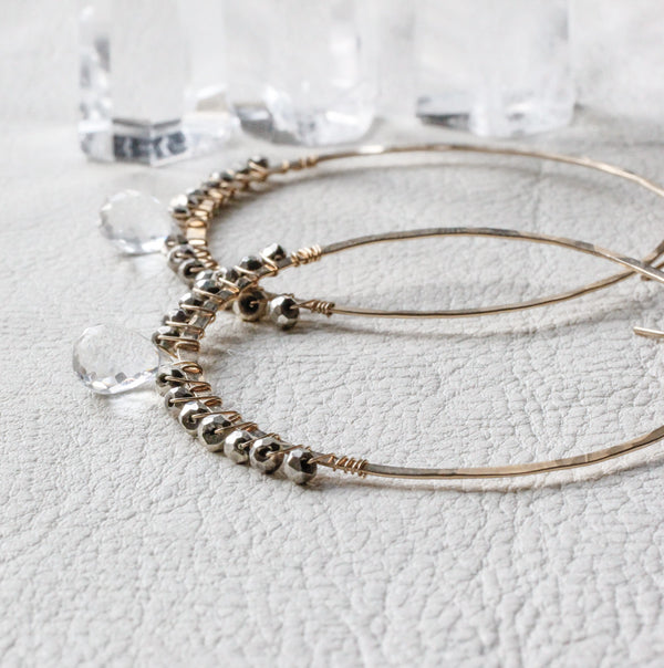 wire wrapped hoop earrings with crystal quartz and pyrite