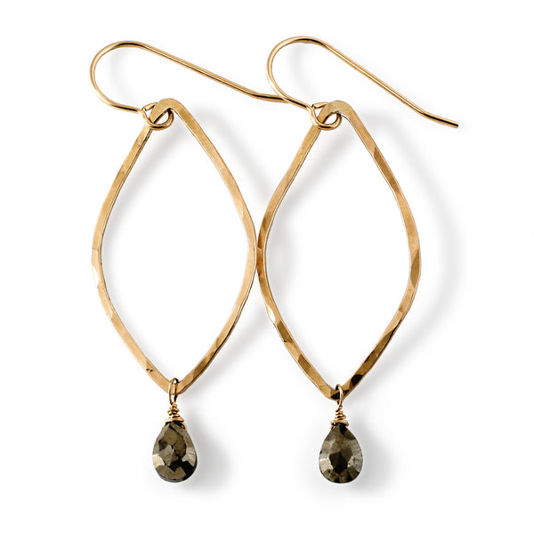pyrite and gold leaf earrings by delia langan jewelry