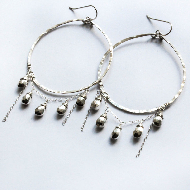 Silver Glam XL Cascade - Pyrite and Handmade Sterling Silver Hoops