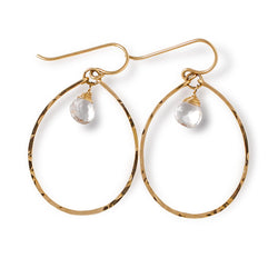 gold and quartz oval hoop earrings