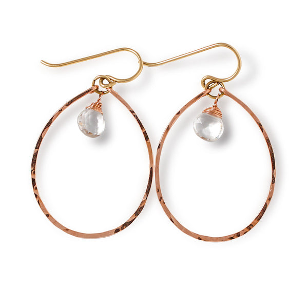 rose gold and quartz oval hoop earrings