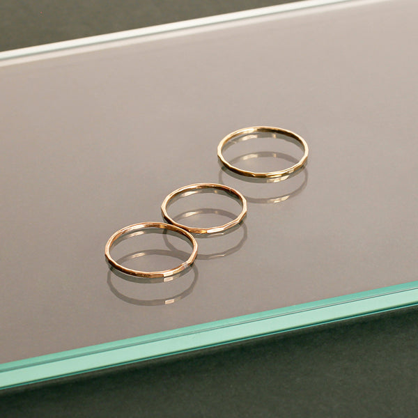 thin gold stacking rings by delia langan jewelry