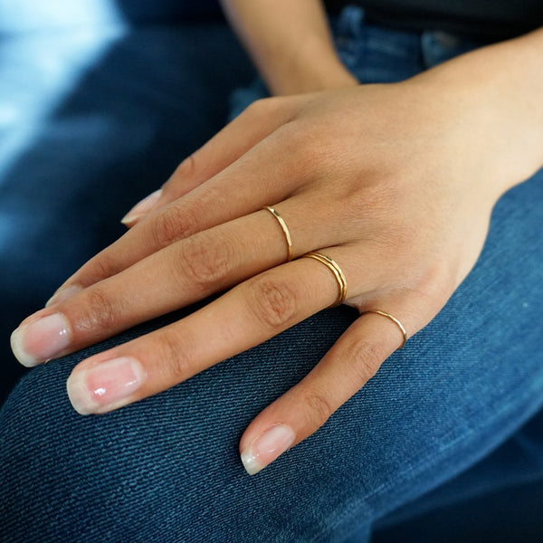 thin 14k gold filled stacking rings by delia langan jewelry