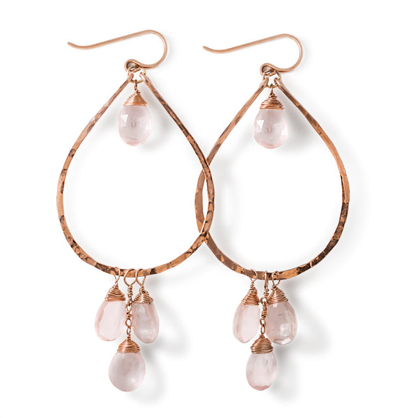 rose gold rose quartz earrings by delia langan jewelry