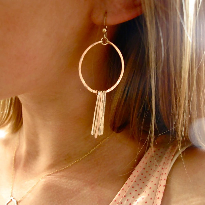 Round Fringe Hoop Earrings