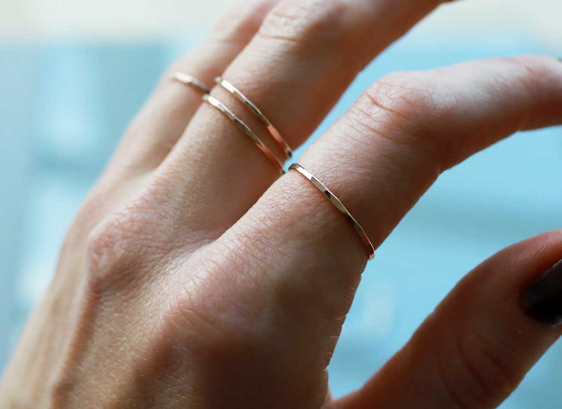 thin rose gold stacking rings