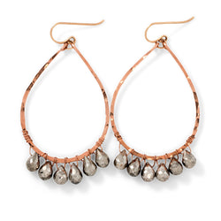 pyrite and rose gold teardrop earrings by delia langan jewelry