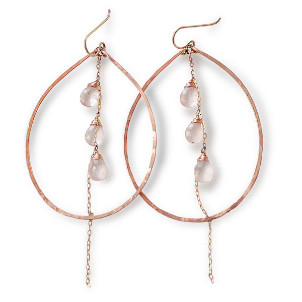 rose quartz and hammered rose gold hoop earrings by delia langan jewelry
