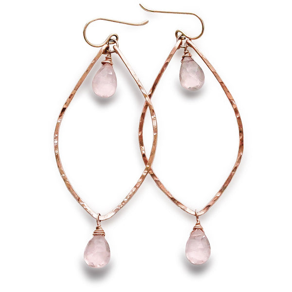Rose Quartz Rose Gold Leaf Earrings
