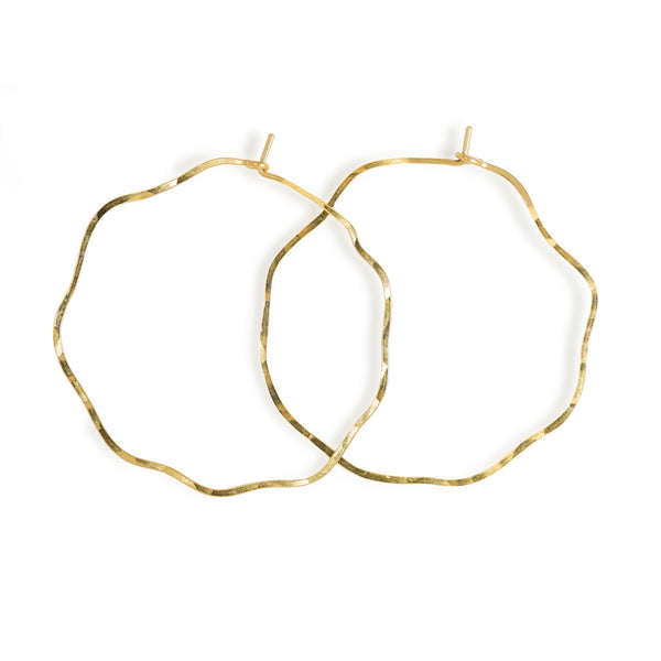 wavy thin gold hoop earrings