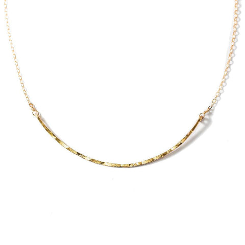 delicate gold arc bar necklace