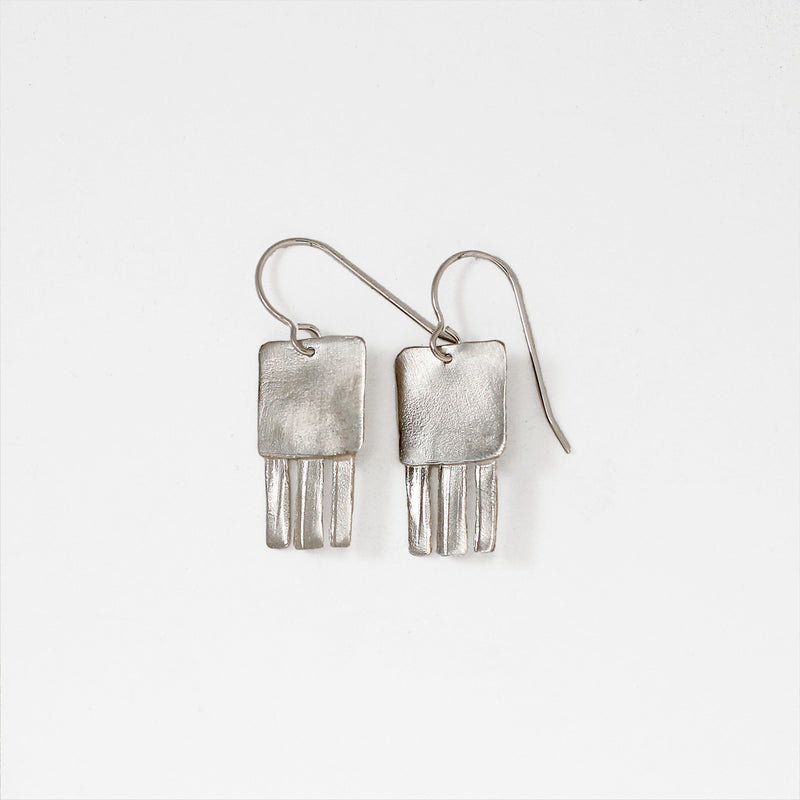 funky little silver drop earrings