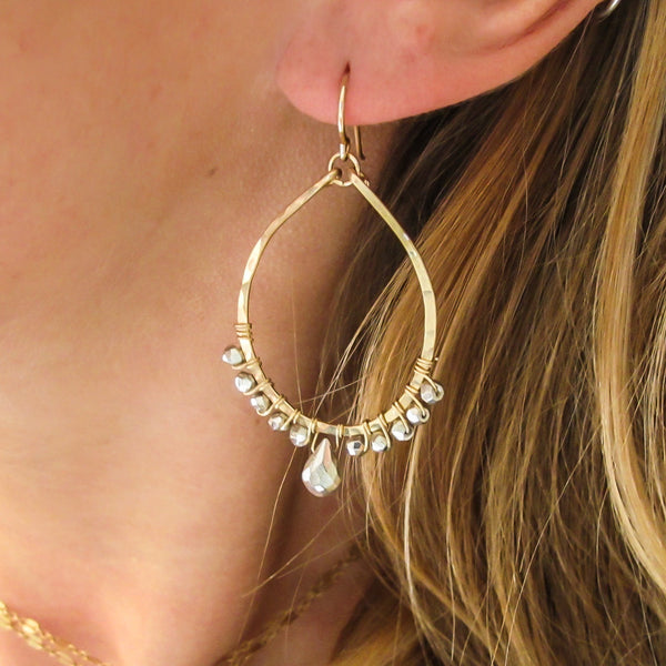 silver pyrite and gold teardrop earrings by delia langan jewelry