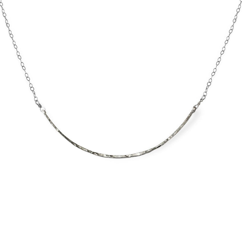thin silver arc necklace by delia langan jewelry
