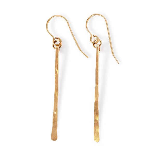 single fringe earring in gold by tahastaffingsolutions small lightweight gold strip dangle earrings